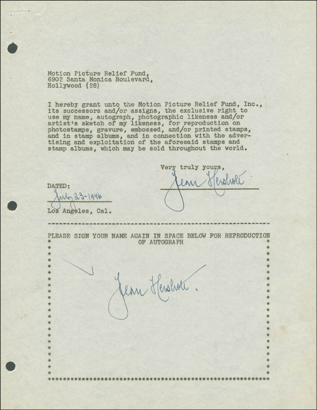 Image 1 for Jean Hersholt - Document Double Signed 07/23/1946 - HFSID 288897