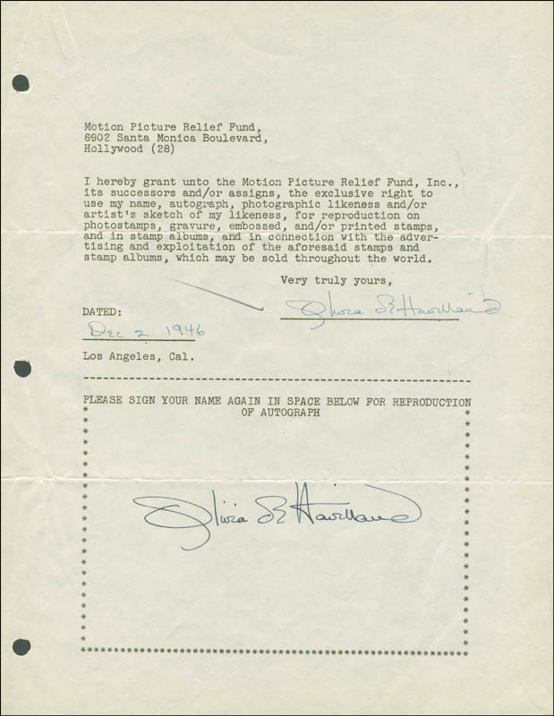 Image 1 for Olivia De Havilland - Document Double Signed 12/02/1946 - HFSID 288907