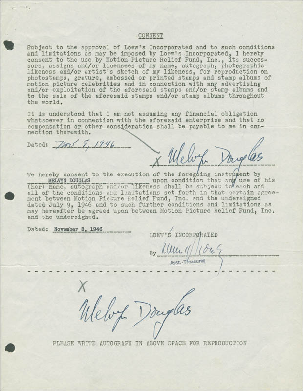 Image 1 for Melvyn Douglas - Document Double Signed 11/08/1946 - HFSID 288909