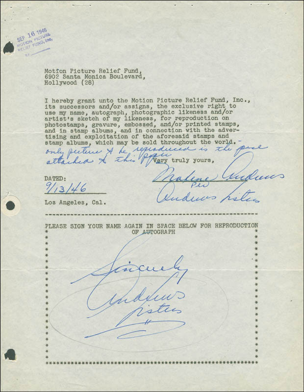Image 1 for Maxene Andrews - Document Multi-signed 09/13/1946 - HFSID 288913