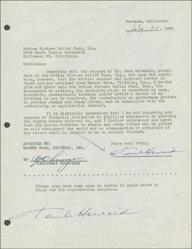 Image 1 for Paul Henreid - Document Double Signed 06/20/1946 - HFSID 288928