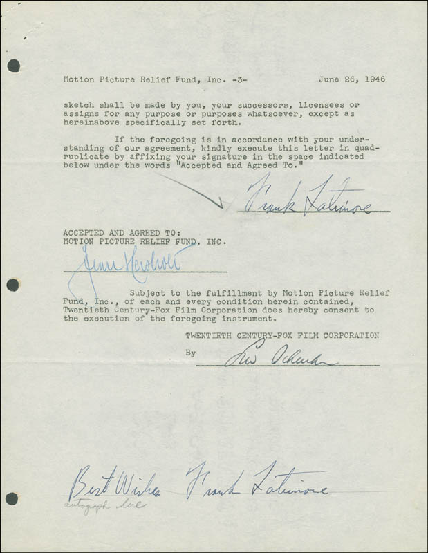 Image 1 for Frank Latimore - Document Double Signed 06/26/1946 co-signed by: Jean Hersholt - HFSID 288966