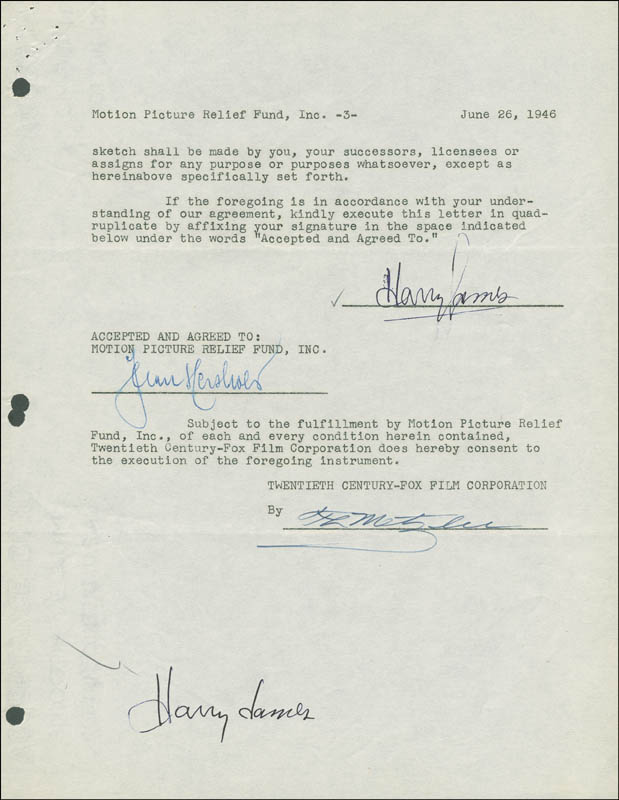 Image 1 for Harry James - Document Double Signed 06/26/1946 - HFSID 289002