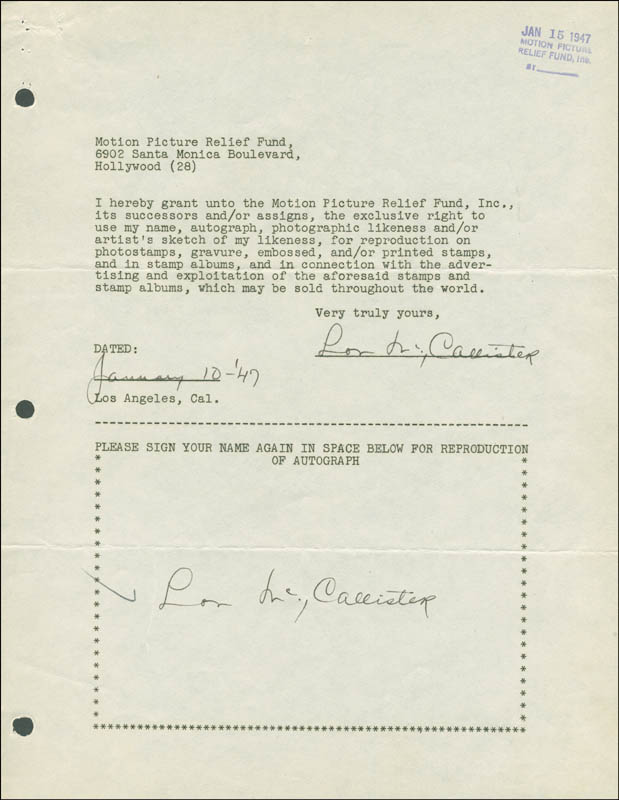 Image 1 for Lon Mccallister - Document Double Signed 01/10/1947 - HFSID 289017