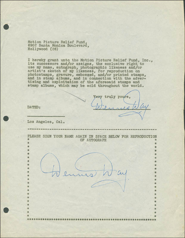 Image 1 for Dennis Day - Document Double Signed - HFSID 289025