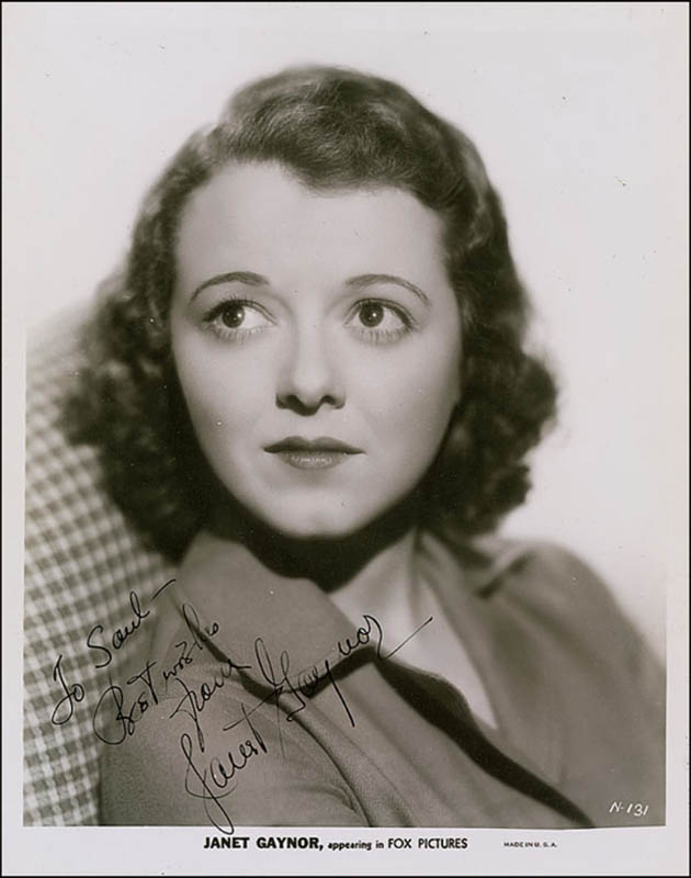 Image 1 for Janet Gaynor - Autographed Inscribed Photograph Circa 1935 - HFSID 289041