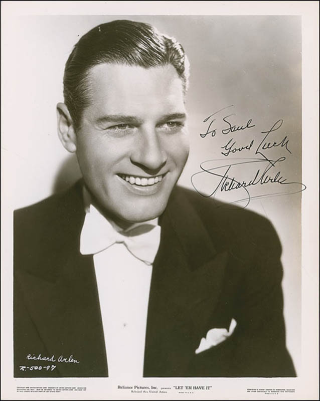 Image 1 for Richard Arlen - Autographed Inscribed Photograph Circa 1936 - HFSID 289063