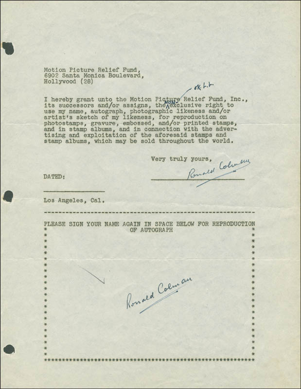 Image 1 for Ronald Colman - Document Double Signed Circa 1946 - HFSID 289107