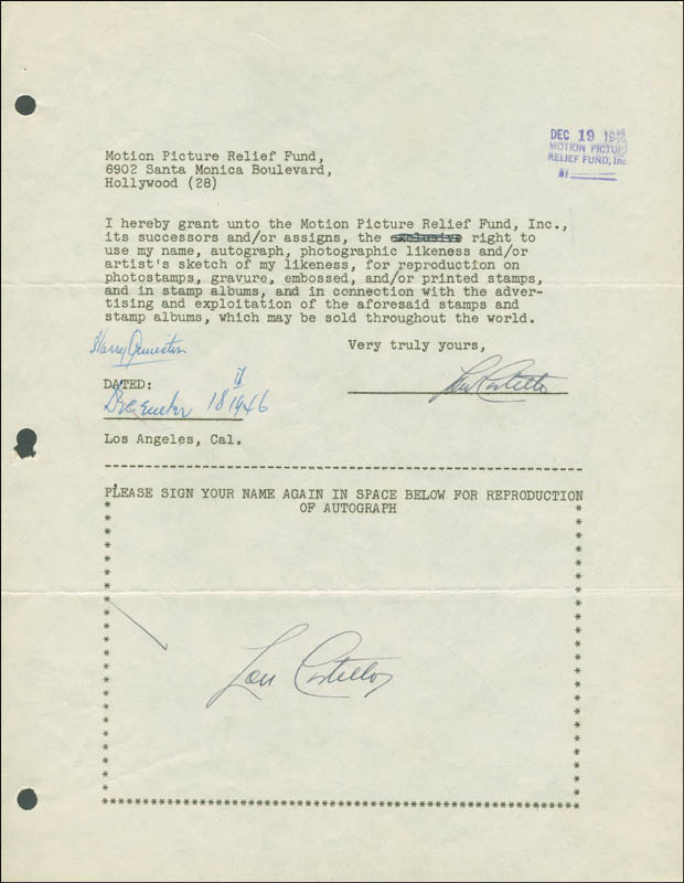 Image 1 for Abbott & Costello (Lou Costello) - Document Double Signed 12/18/1946 - HFSID 289120