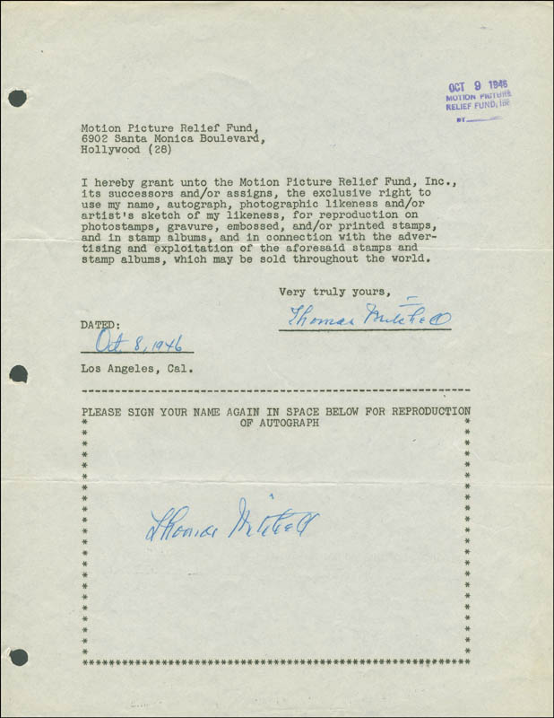 Image 1 for Thomas Mitchell - Document Double Signed 10/08/1946 - HFSID 289141