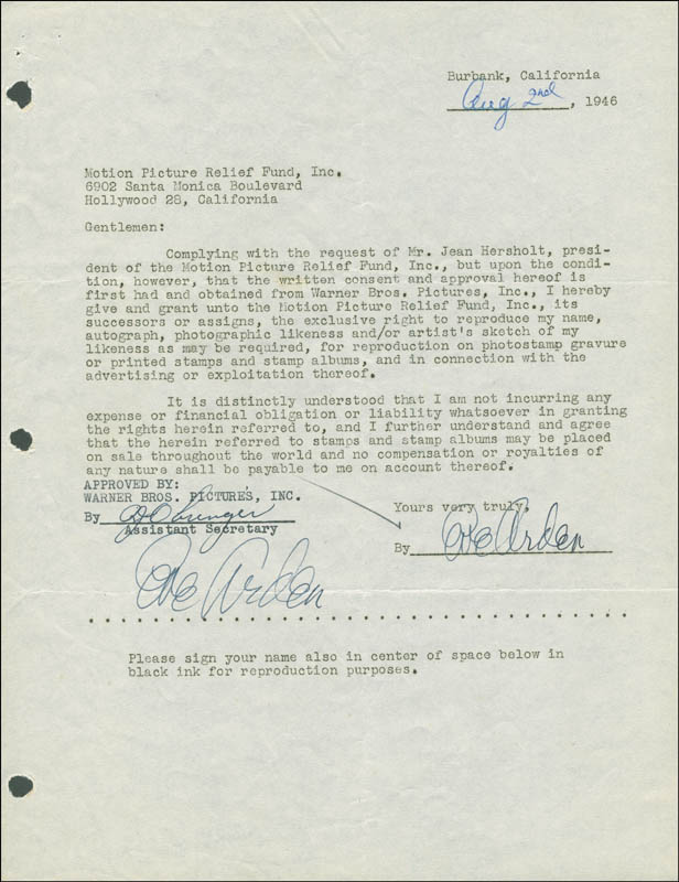 Image 1 for Eve Arden - Document Double Signed 08/02/1946 - HFSID 289159