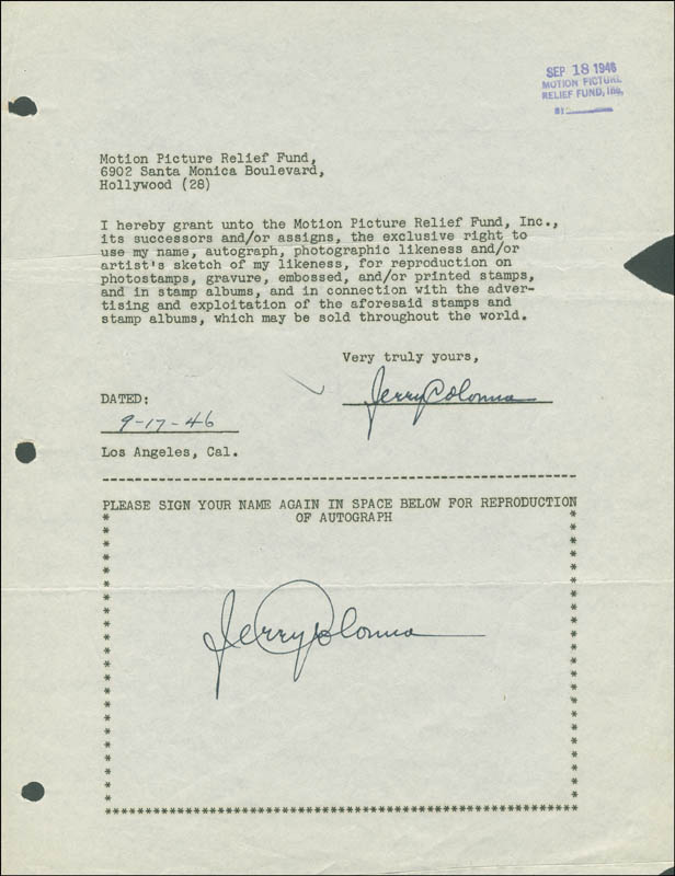 Image 1 for Jerry Colonna - Document Double Signed 09/17/1946 - HFSID 289169