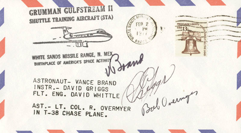 Image 1 for S. David Griggs - Commemorative Envelope Signed co-signed by: Colonel Robert Overmyer, Vance Brand - HFSID 28920
