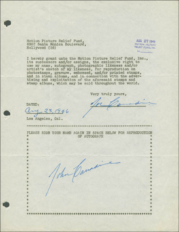 Image 1 for John Carradine - Document Double Signed 08/23/1946 - HFSID 289216