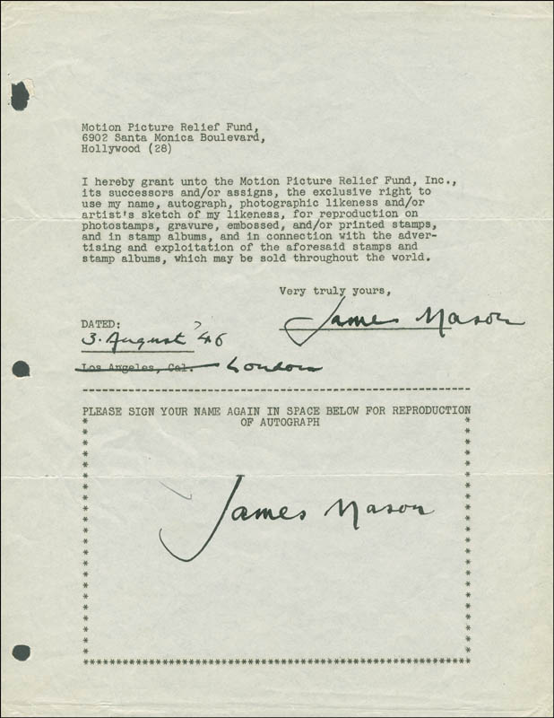 Image 1 for James Mason - Document Double Signed 08/03/1946 - HFSID 289238