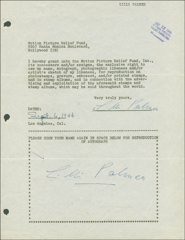 Image 1 for Lilli Palmer - Document Double Signed 09/02/1946 - HFSID 289240