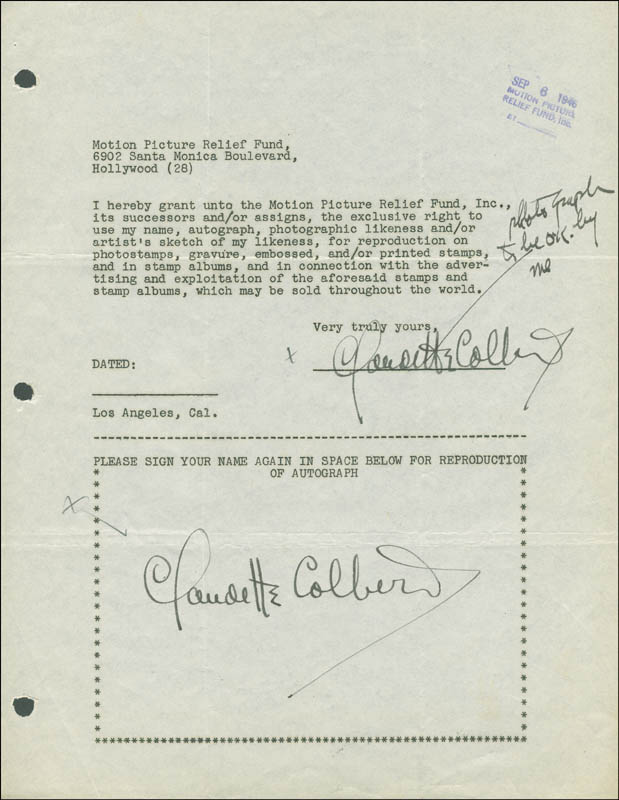 Image 1 for Claudette Colbert - Document Double Signed 09/06/1946 - HFSID 289244