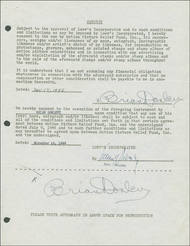 Image 1 for Brian Donlevy - Document Double Signed 11/14/1946 - HFSID 289248