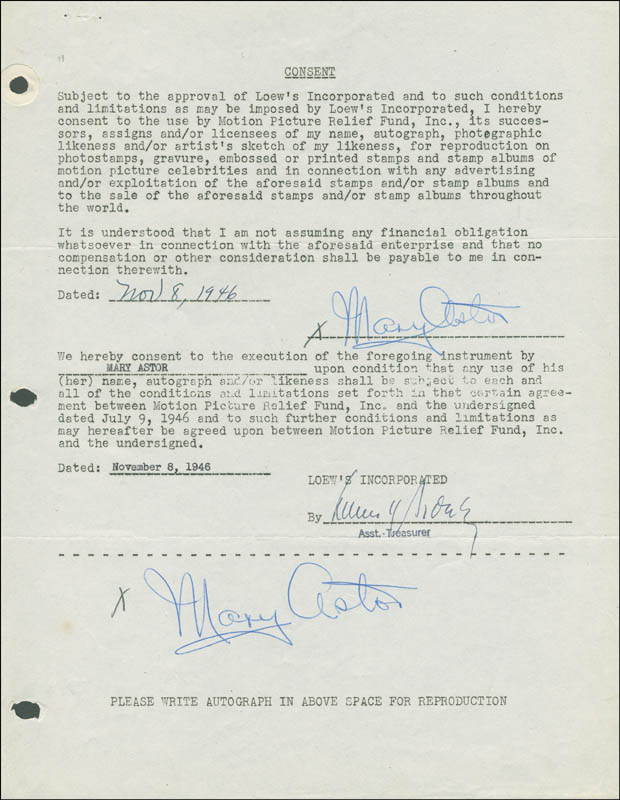 Image 1 for Mary Astor - Document Double Signed 11/08/1946 - HFSID 289265