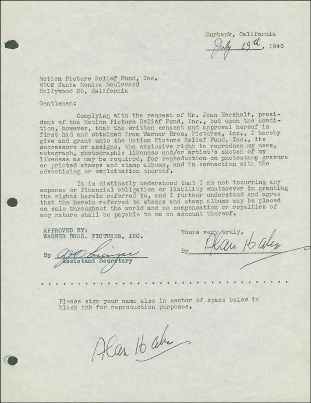 Image 1 for Alan Hale Sr. - Document Double Signed 07/19/1946 - HFSID 289278