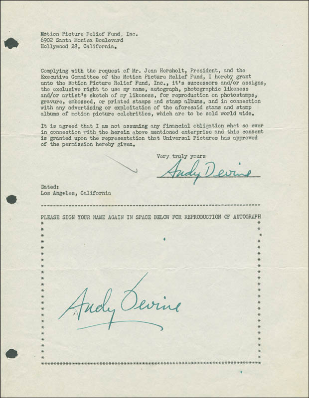 Image 1 for Andy Devine - Document Double Signed Circa 1946 - HFSID 289297