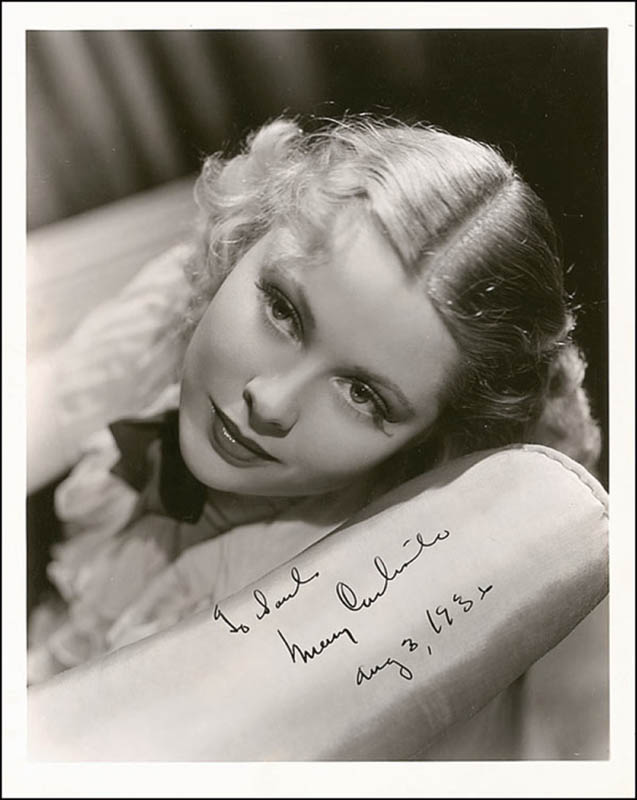 Image 1 for Mary Carlisle - Autographed Inscribed Photograph 08/03/1936 - HFSID 289487