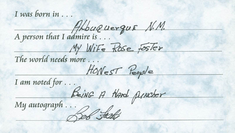 Image 1 for Bob 'The Deputy Sheriff' Foster - Questionnaire Signed - HFSID 289652