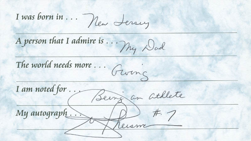 Image 1 for Joe Theismann - Questionnaire Signed - HFSID 289659