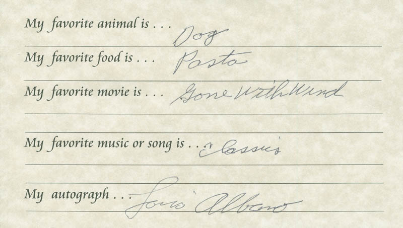 Image 1 for Lou Albano - Questionnaire Signed - HFSID 289665