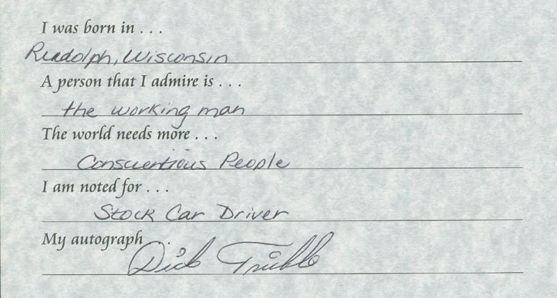 Image 1 for Dick Trickle - Questionnaire Signed - HFSID 289675