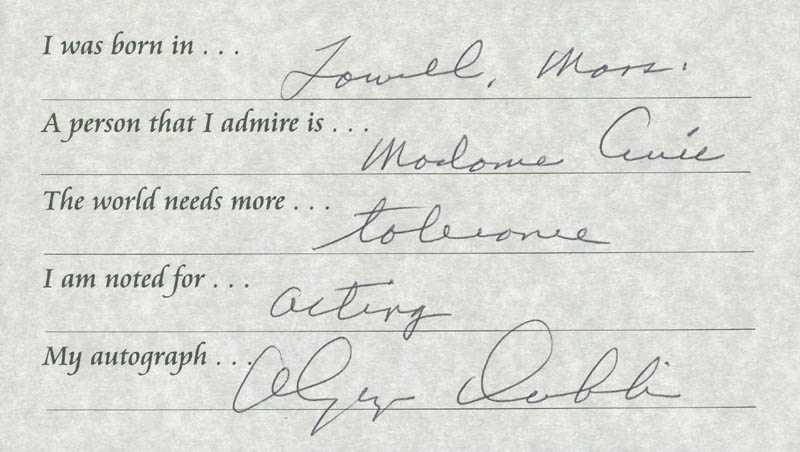 Image 1 for Olympia Dukakis - Questionnaire Signed - HFSID 289699