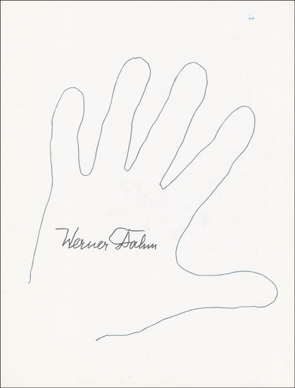 Image 1 for Werner Dahm - Hand/Foot Print Or Sketch Signed - HFSID 289750