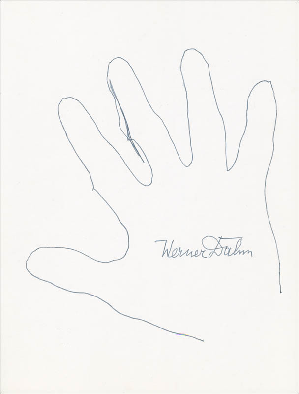 Image 1 for Werner Dahm - Hand/Foot Print Or Sketch Signed - HFSID 289751