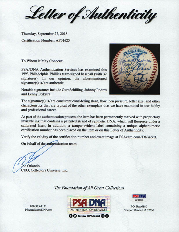 Image 7 for The Philadelphia Phillies - Autographed Signed Baseball with co-signers - HFSID 289765