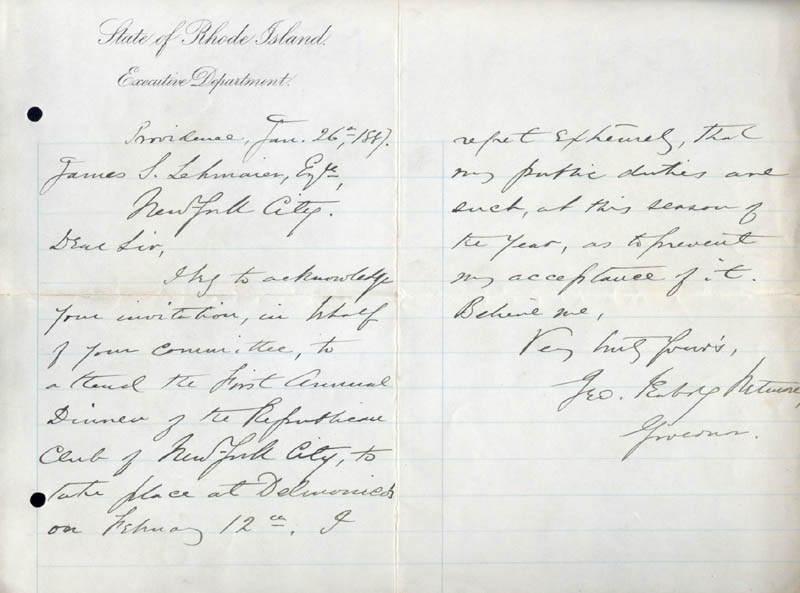 Image 1 for George P. Wetmore - Autograph Letter Signed 01/26/1887 - HFSID 28980