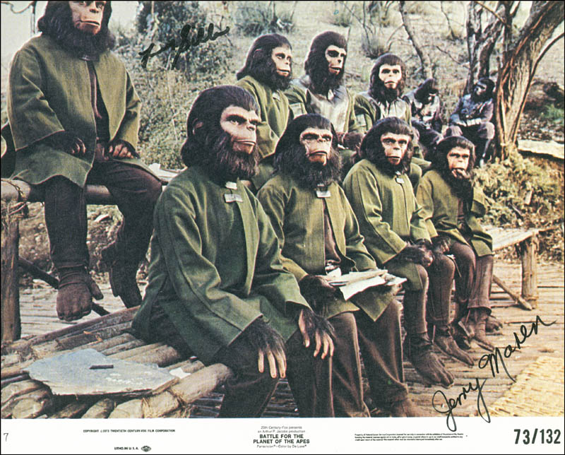 Image 1 for Battle For The Planet Of The Apes Movie Cast (1973) - Autographed Signed Photograph co-signed by: Jerry Maren, Felix ('Cousin Itt') Silla - HFSID 289808
