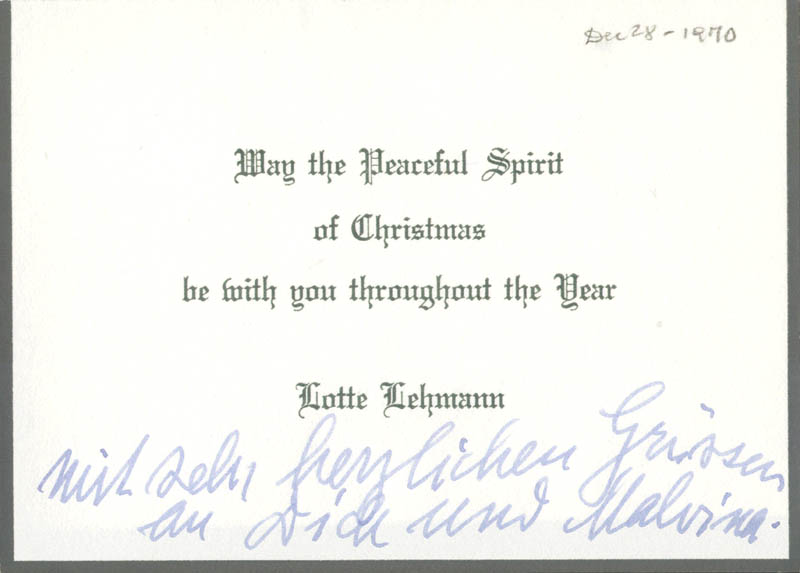 Image 1 for Lotte Lehmann - Annotated Christmas / Holiday Card Unsigned - HFSID 28985