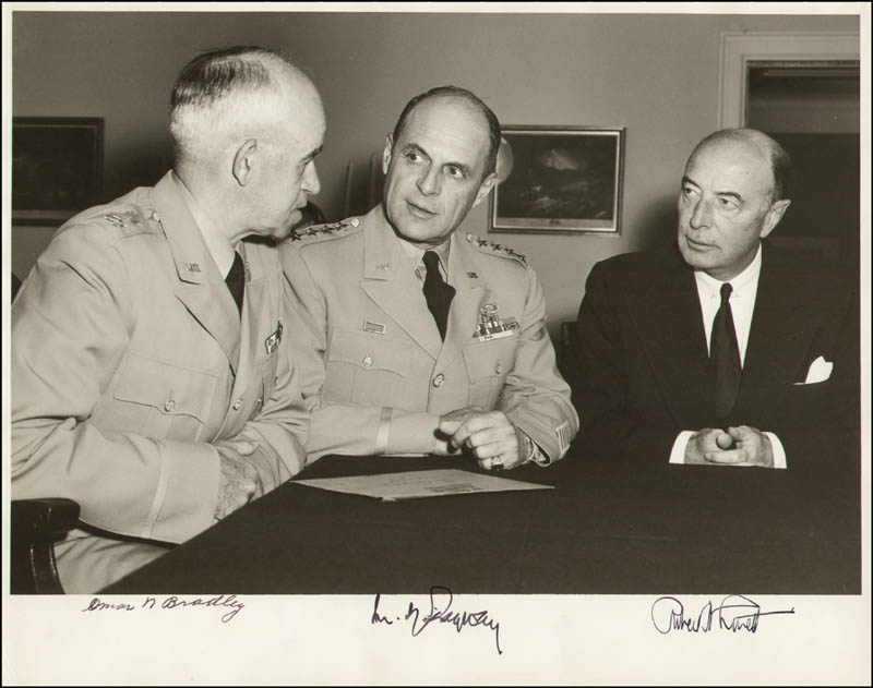 Image 1 for Robert A. Lovett - Autographed Signed Photograph co-signed by: General Matthew B. Ridgway, General Omar N. Bradley - HFSID 289913