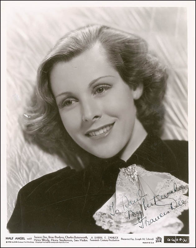 Image 1 for Frances Dee - Autographed Inscribed Photograph Circa 1945 - HFSID 289915