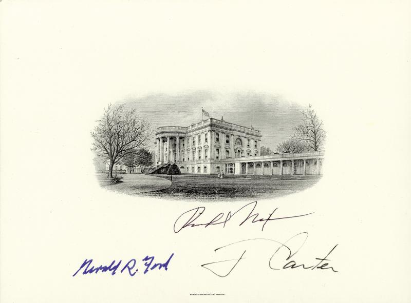 Image 1 for The Three Presidents - White House Engraving Signed with co-signers - HFSID 28993
