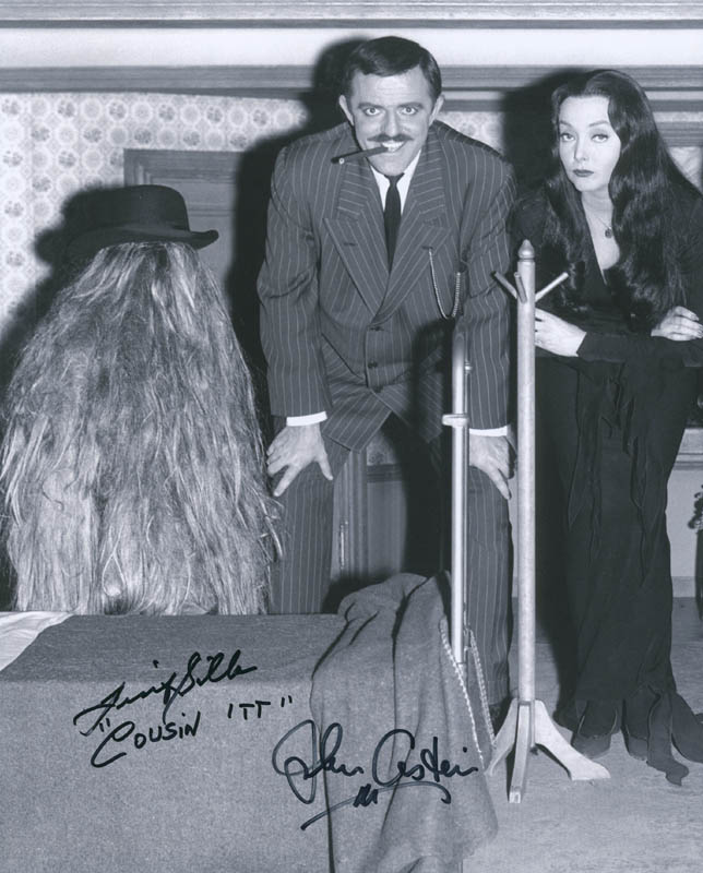 Image 1 for The Addams Family TV Cast - Autographed Signed Photograph co-signed by: John Astin, Felix ('Cousin Itt') Silla - HFSID 289942