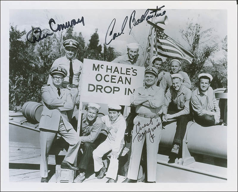 Image 1 for Mchale'S Navy TV Cast - Autographed Signed Photograph co-signed by: Tim Conway, Ernest Borgnine, Carl Ballantine - HFSID 290077