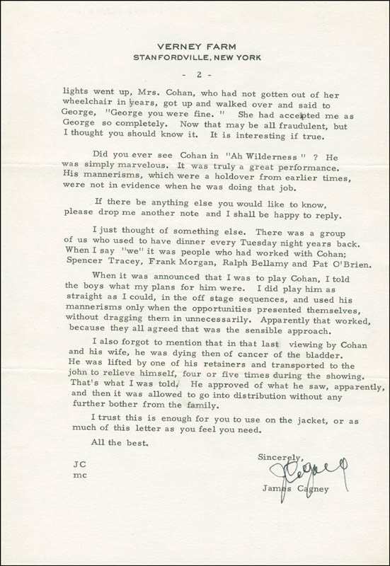 Image 1 for James Cagney - Autograph Letter Signed 07/03/1979 - HFSID 290083