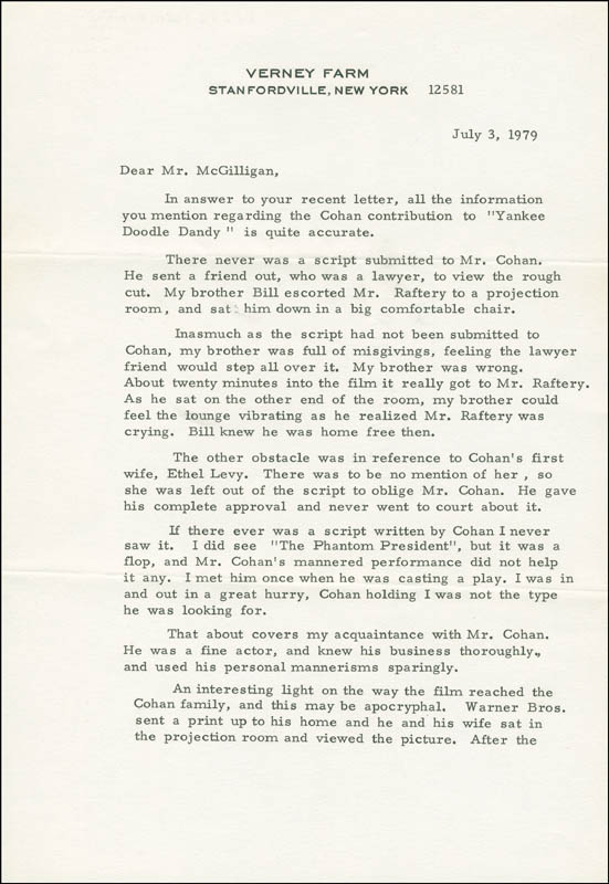 Image 3 for James Cagney - Autograph Letter Signed 07/03/1979 - HFSID 290083
