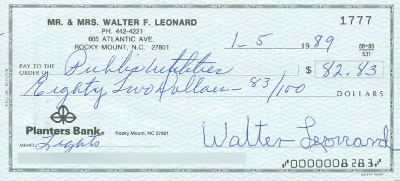 Image 1 for Buck Leonard - Autographed Signed Check 01/05/1989 - HFSID 290091
