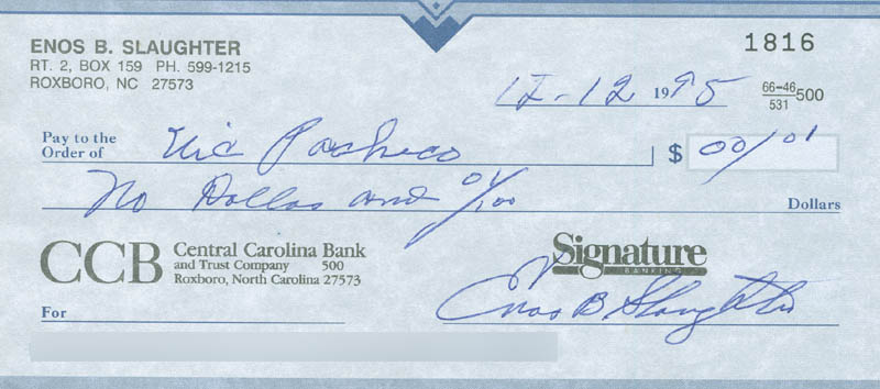 Image 1 for Enos Slaughter - Autographed Signed Check 12/12/1995 - HFSID 290092