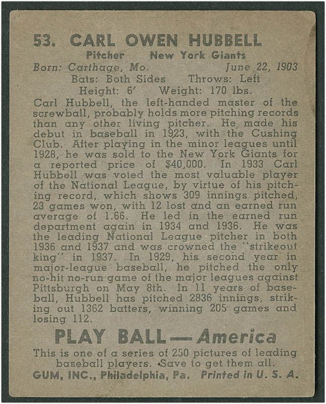 Image 3 for Carl Hubbell - Trading/Sports Card Signed - HFSID 290163