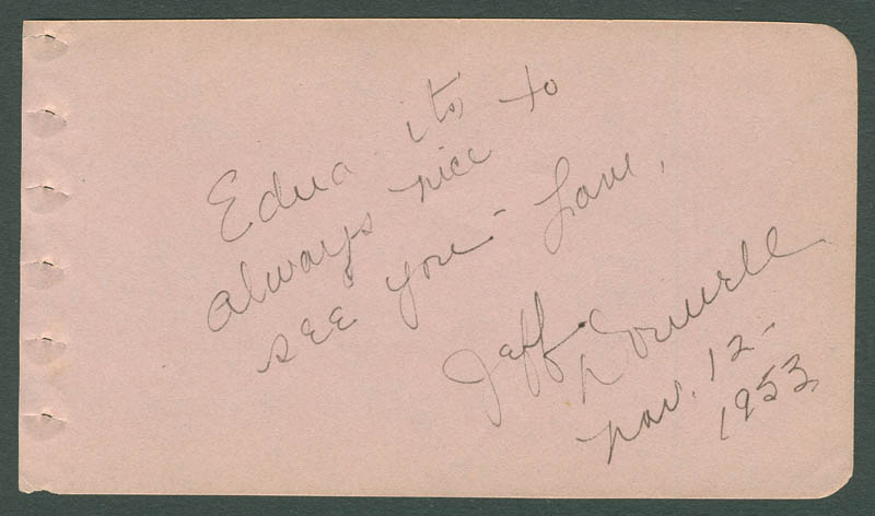 Image 1 for Jeff Donnell - Autograph Note Signed 11/12/1953 - HFSID 290200