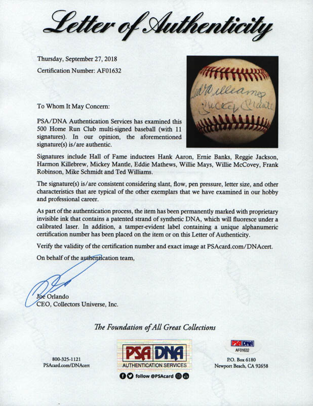 Image 9 for 500 Home Run Hitters - Autographed Signed Baseball with co-signers - HFSID 29039