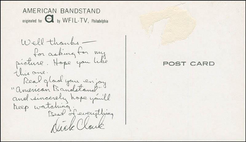 Image 3 for Dick Clark - Picture Post Card Unsigned - HFSID 290517